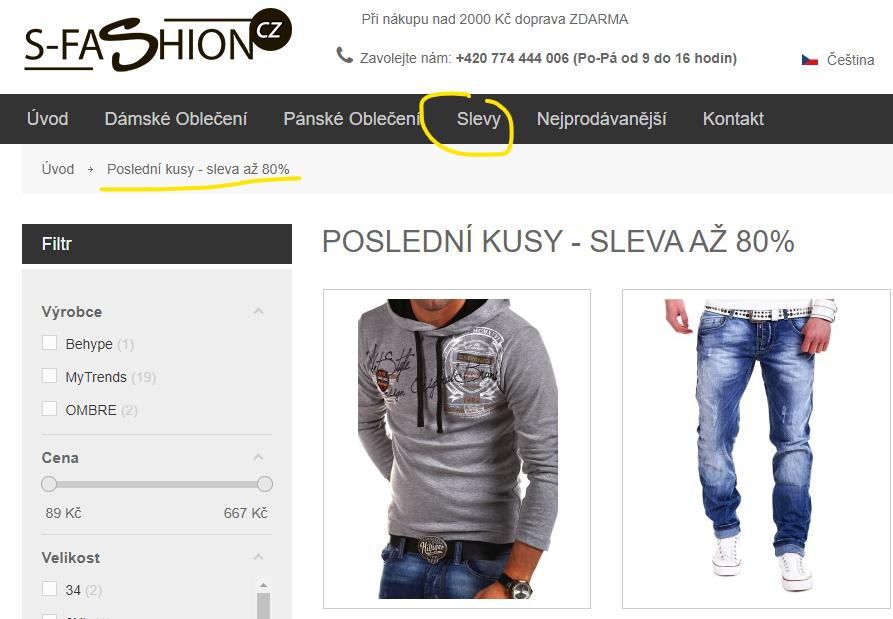 S-fashion sleva 80 %