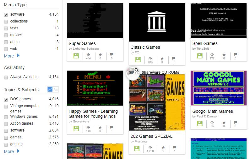 dosové hry z Archive.org