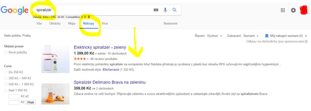 Google Nákupy - vyhledávání