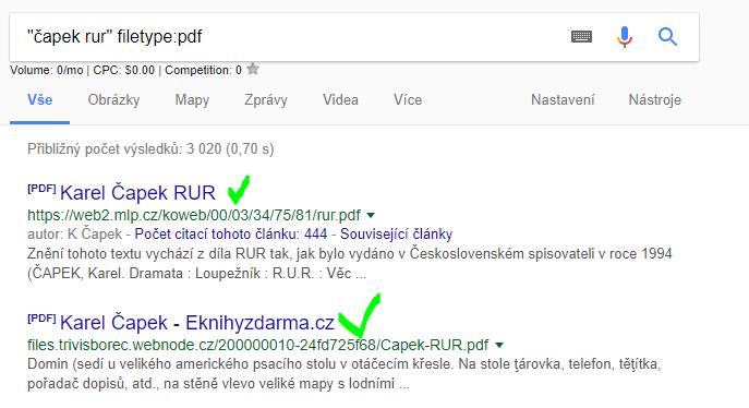 ukázka hledání na google