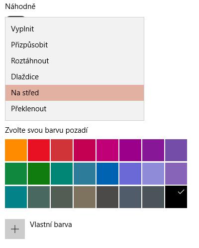 nastavení prezentace barvy