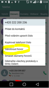 odmítnutí hovoru