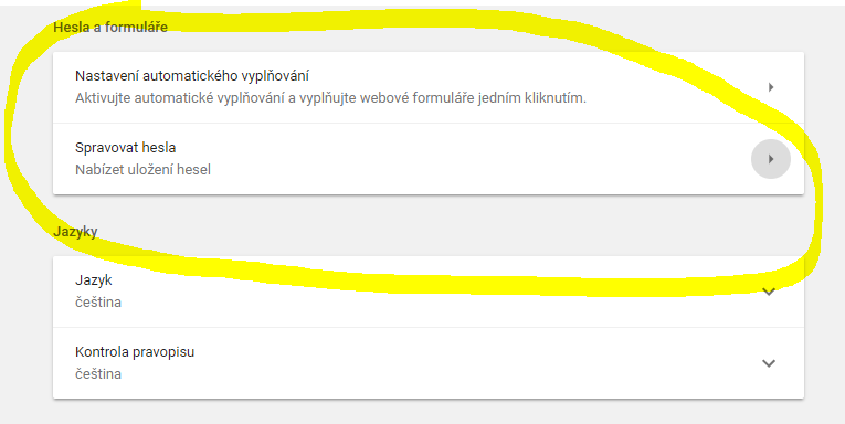 Nastavení automatického vyplňování hesel a formulářů
