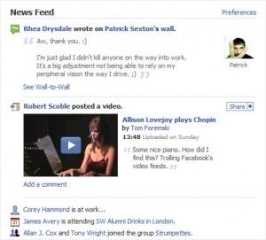 Ukázka dění na Facebooku