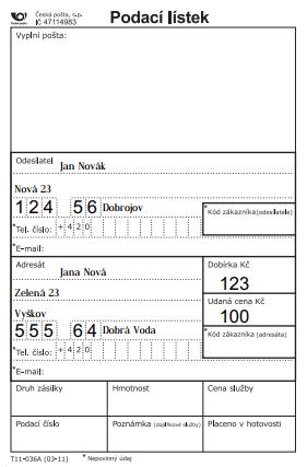 podací lístek vzor