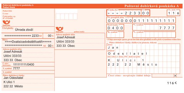 poštovní poukázka A - vzor