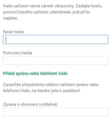 nové heslo na uzamknuté obrazovce