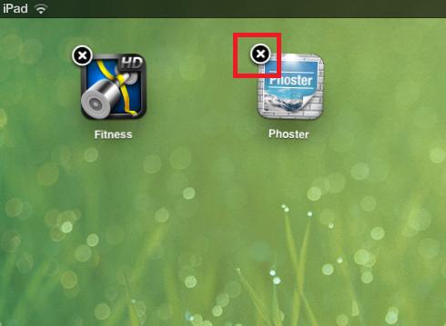 smazání aplikace v ipadu