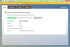 Rychlý test antivirem Microsoft Security Essentials