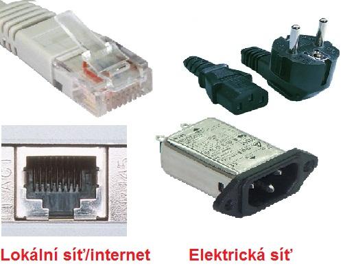 Ethernetový kabel a konektor vs. kabel a konektor pro elektrickou síť
