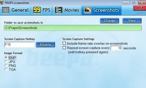 Záložka Screenshots