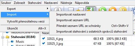 Import seznamu URL ke stažení