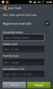 Registrace avast účtu