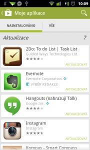 Seznam vlastních aplikací