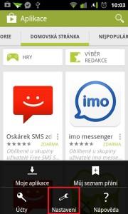 Nastavení v Google Play