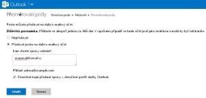 Řešení přesměrování na Outlook.com