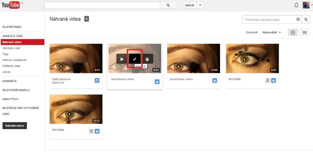 Úprava publikovaného videa