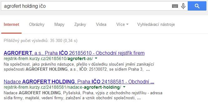 Ukázka: vyhledávání IČ pro Agrofert Holding