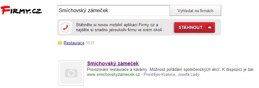 Ukázka hledání na firmy.cz