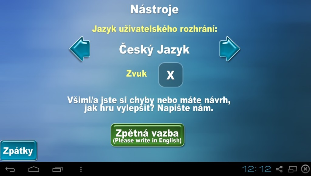 Nastavení jazyku menu na češtinu