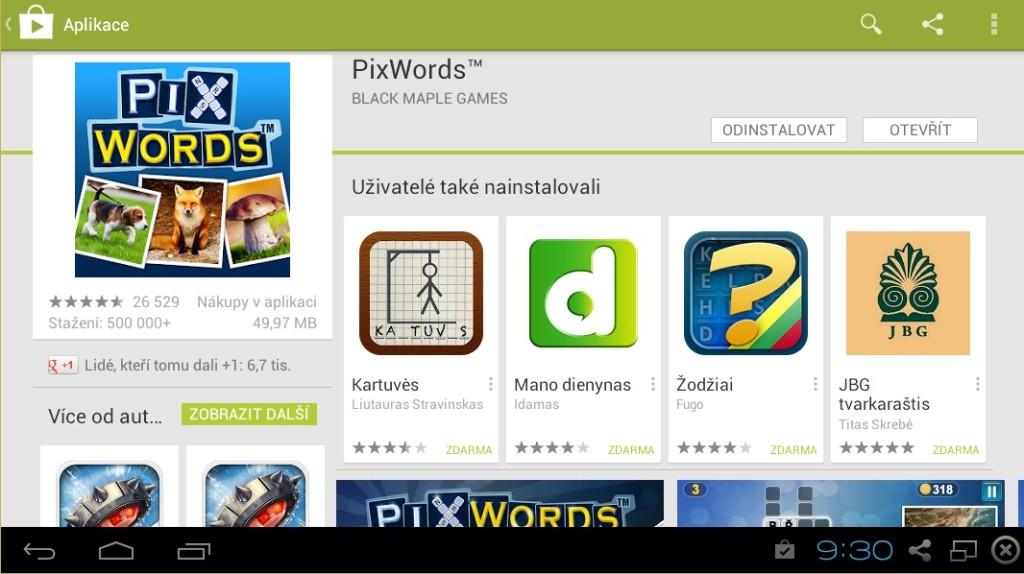 Pixwords nainstalován