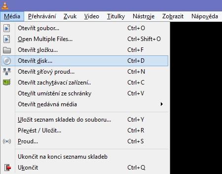 Otevřít disk VLC