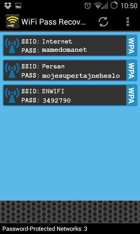 přehled wifi (android)