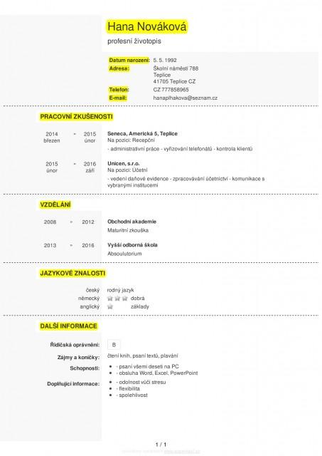 Strukturovany Zivotopis Formular Radirna Internetova Online
