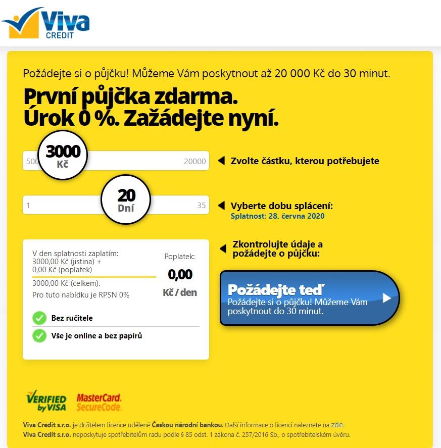 VivaCredit žádost o půjčku