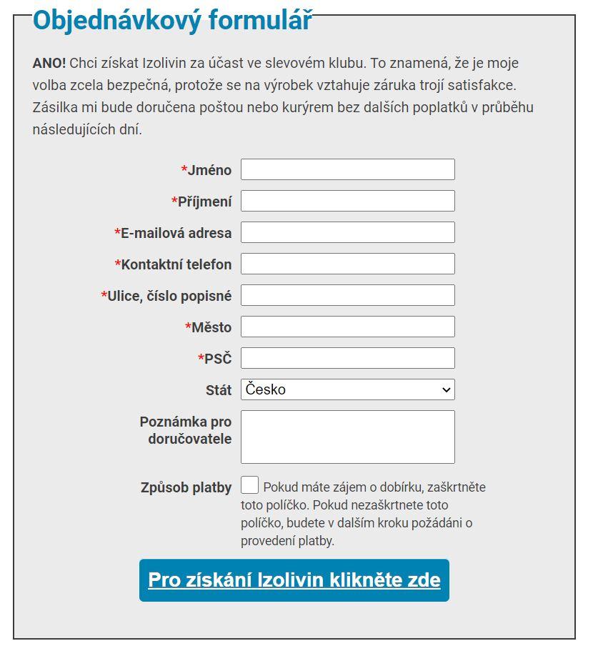 Objednávkový formulář Izolivin