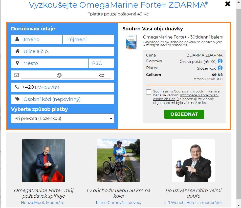 Objednavkovy formular OmegaMarine Forte+